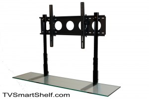 tv wall mount with glass shelf